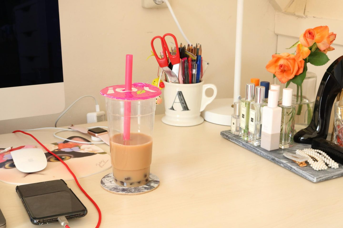 A desk is nothing without bubble tea